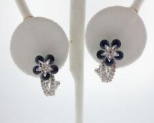 NEW Natural Blue Sapphires Diamonds Solid 18k White Gold Flower Star Earrings