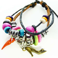 Real Leather Charm Peace Chilli Pepper Beaded Wristband Bracelet Cool Hot WB50