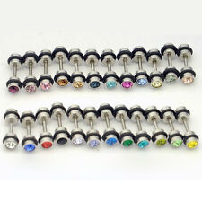 24pairs/lot 4mm Black Circle crystal titanium dumbbell Punk Unisex stud earrings