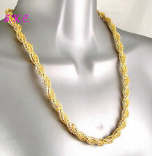 Designer Wag Woven Twisted Snake, Gold Plated Mesh Net Chain Necklace, Debenhams