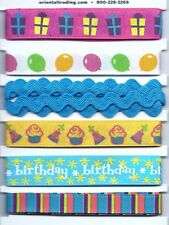 BIRTHDAY Wishes.  Printed RIBBONS.  6pcs. Scrapbooking / Bows/ Cards/ Craft