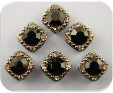 2 Hole Beads Crystal GALA 8mm Jet Black & Smoke Swarovski Elements Sliders QTY 6