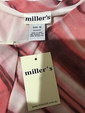 "Millers Size 16 ""Afternoon Delights"" Short Sleeve Multicolour Stripe Top Blouse"