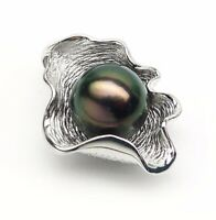 Luminous Green Tahitian Cultured Pearl Pendant 925 Sterling Silver 10.5-11mm
