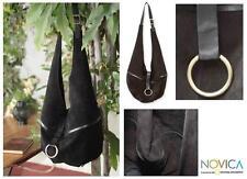 Leather 'Miraflores at Midnight' Medium Sling Tote Handbag new
