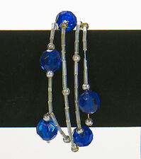 Memory Wire Bracelet - Blue Rounds & Clear Bugle Beads