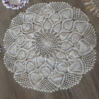 """Farmhouse VTG White Hand Crochet Large Round Doily Table Topper 30"""" Shabby BOHO"""