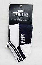 2 PAIRS Victoria's Secret Pink BLACK & WHITE No-Show Ultimate Ankle Socks