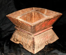 North Thailand Wood Betelnut box w/ 3 sections hand-carved ca 1850-1900 Scarce