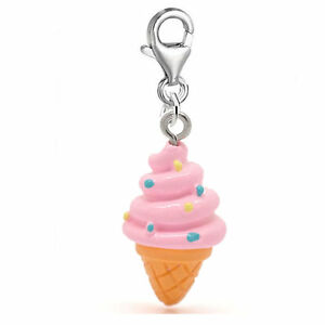 """Ice Cream"" Clip on Pendant for European Charm Jewelry w/ Lobster Clasp (Pink..."