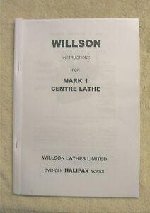 "Willson 7.5"" & 8.5"" Centre Lathes Manual"