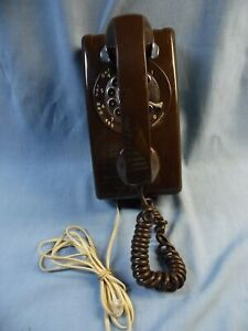 VINTAGE ITT CHOCOLATE BROWN ROTARY MODULAR WALL PHONE~TESTED WORKS WELL!