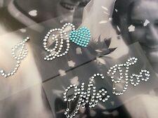 I Do + Me Too Juego Boda Zapato Pegatina Apliques de diamante de imitación de corazón de cristal azul