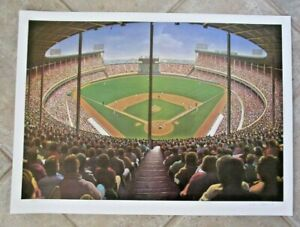 1990 William Feldman CLEVELAND STADIUM Signed & Numbered Baseball Lithograph