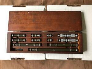 """Lufkin Inside Micrometer and End Rod Set - 2 heads and 9 rods (0.001"""" res)"""