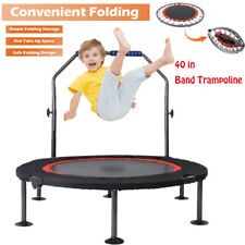 "40""Mini Rebounder Trampoline Exercise Fitness Gym Cardio Trainer Adjustable Bar"