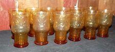 Vintage Libbey Amber Country Garden Daisy Flower Tumbler Cooler Set 12 Glasses
