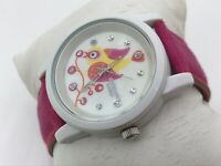 Sprout Diamond Women Watch Pink Organic Cotton Band Bird On Nest Wrist Watch