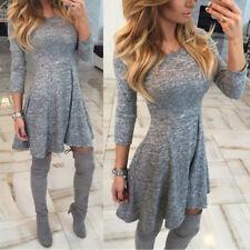 Sexy Women Autumn Winter Long Sleeve Pullover Bodycon Swing Mini Short Dress