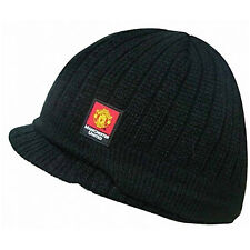 Manchester United FC Official Football Gift Knitted Peaked Beanie Hat e6e90f15e3f1