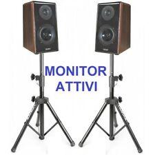 COPPIA CASSE AMPLIFICATE ATTIVE KARAOKE MONITOR STUDIO DJ + 2 STATIVI TREPPIEDI