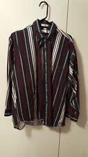 Men's Long Sleeve Striped Shirt Goeffrey Beene Green-Red-Black-White Size L VGC