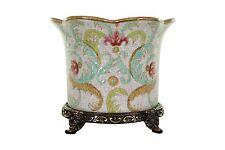 "Beautiful Crackle Floral Porcelain Orchid Pot Brass Ormolu Accents 5"""