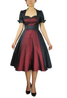 CONTRAST SWING DRESS BLACK BURGUNDY GOTHIC BOW VICTORIAN STEAMPUNK VINTAGE