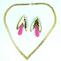 Vintage Statement Chain Necklace Pierced Earrings Set Gold Tone Pink Dangle