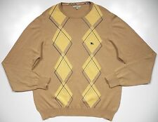 BURBERRY LONDON MENS XL SWEATER ARGYLE CHECK BEIGE BLUE NIGHT LOGO MADE IN ITALY