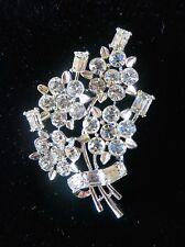 Vintage Lisner Silvertone and Austrian Crystal Floral Spray Brooch / Pin
