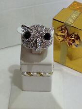WOMEN'S NEW FASHION JEWELRY NOVELTY OWL BIRD SILVER-TONE  RING w/ STONES  SIZE 9