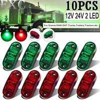 10 X 10-30V 2 LED Superflux Side Marker Red Green Fender Truck Trailer Boat RV