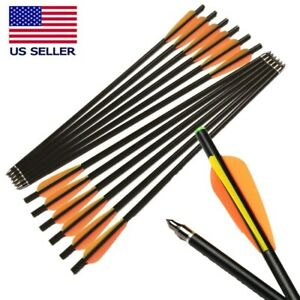 "12Pcs 20"" Fiberglass Crossbow Bolts Arrows Flat Nocks 8mm Shaft Screwed Tips"