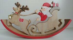ROCKING SANTA REINDEER & SLEIGH wooden Christmas decoration rocker ornament new