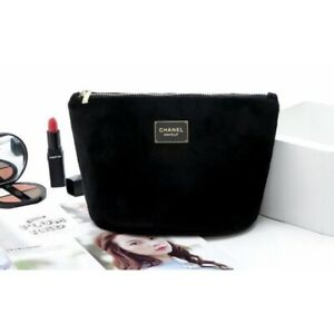 "CHANEL Beauty BLACK Velvet Cosmetic Makeup Bag Pouch Clutch ""POST FREE!"""