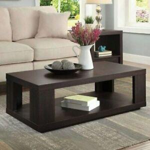 Espresso Coffee Table with Lower Shelf Contemporary Design Living Room Sleek NEW