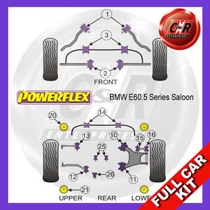 BMW E60 5 Series, Berlina (03-10) Rear Subframe Bushes Powerflex Full Bush Kit
