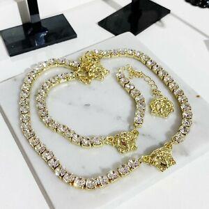 Medusa multi heads transparent faux leather crystal stones bracelet necklace set