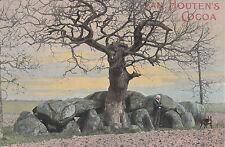 Van Houton's Cocoa advertising postcard man & dog under old Oak tree, uncommon