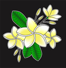 Tropical Plumeria Flower Cluster Vinyl Decal Sticker Car Truck  Window Decor