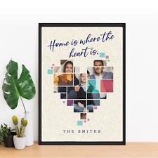 Familia Personalizado Corazón con marco de la foto Imprimir | cumpleaños regalo de aniversario
