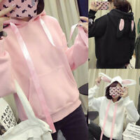 Women Rabbit Ears Pullover Hoodie Long Sleeve Blouse Loose Cute Sweatshirt Tops