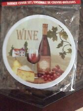 Cooking Concepts Burner Cover Set of 4. Wine Design - Multi-Colors - NEW