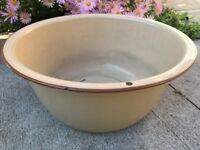 "Vintage Large Enamel Ware Tub Basin Farm House Round Wash Bowl 14 1/4"" Tan Brown"