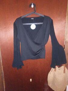 Mitch Women's Size L Black Top Brand New Rrp$65