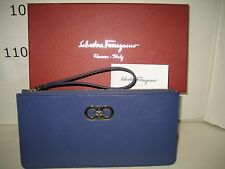 $295 NEW Salvatore Ferragamo Blue Gancini Icona Wristlet Wallet Clutch Handbag