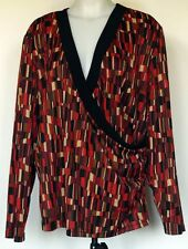 Lane Bryant Crossover Draped Front 3/4 Sleeve Black & Red Top 18/20 Made in USA