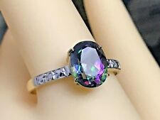 10K GOLD  AND 2.20 CARAT NATURAL TOPAZ & DIAMOND SOLITAIRE RING  SIZE 6.75
