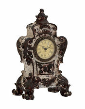 Antiqued Distressed French Baroque Style Ceramic Table Clock Ornate Gothic Decor
